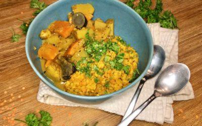 Indisches Dal mit Kartoffel-Kürbis-Curry