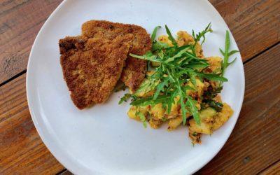 Sojaschnitzel mit Kartoffelsalat